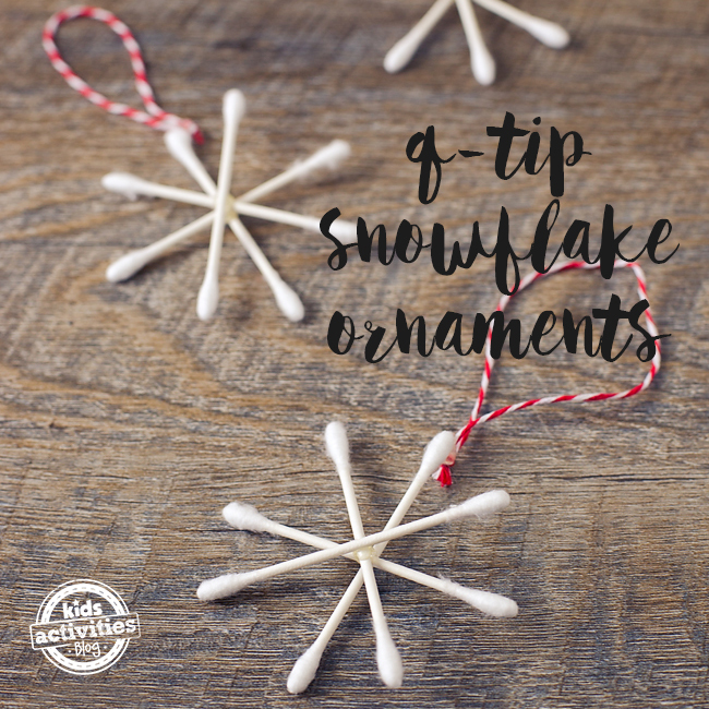 Snowflake Q-Tip Ornament finished - two completed projects shown with red/white striped hanging string