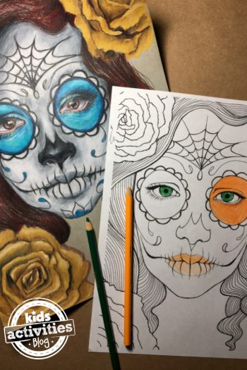Sugar skull coloring page with beautiful tradition day of the dead facepaint on a young woman with flowers.