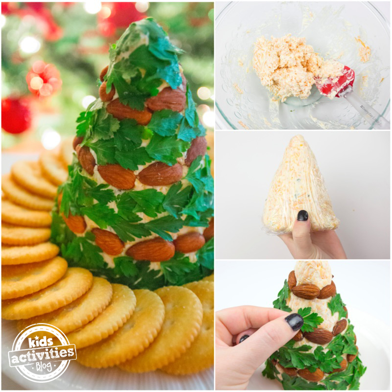 Christmas cheese ball made of cream cheese, sharp cheddar cheese, almonds, and parsley.