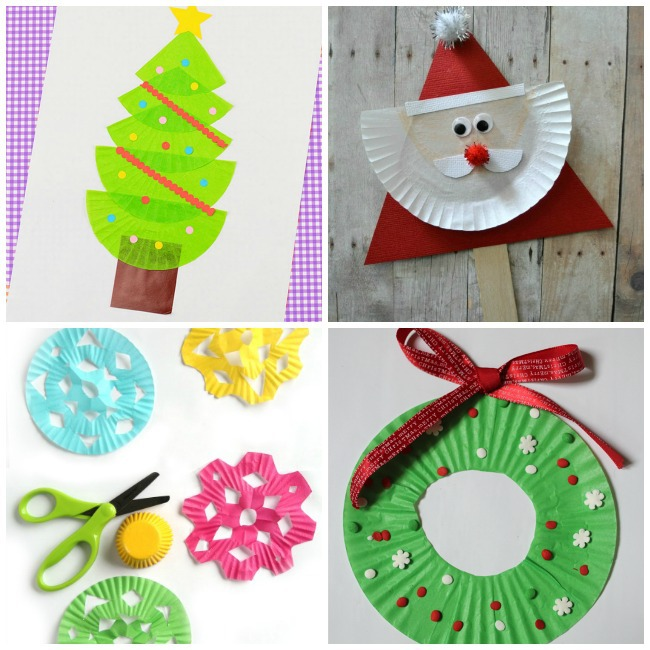 cupcake paper christmas tree craft, and santa craft, and snowflake craft, and Christmas wreath craft.