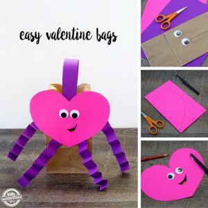 Easy Valentine Bags using a brown bag, purple handles, legs, and arms, with a great pink heart with googly eyes. It is a great way to hold all your Valentine's day treats.
