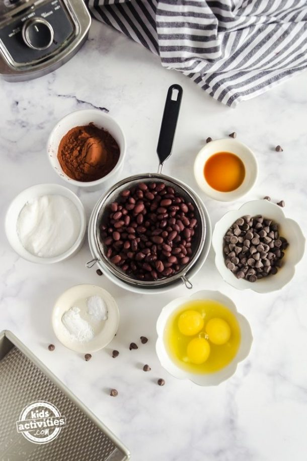 Ingredients you'll need to have to make this black bean brownies recipe.