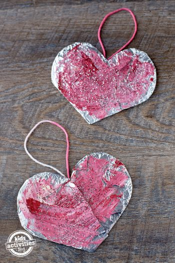 Painted Foil Hearts