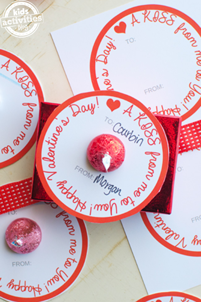 """Simple Homemade Valentines That Send """"A Kiss From Me To You"""""""
