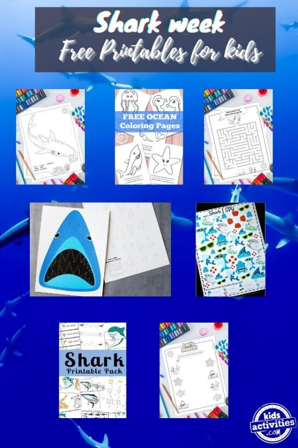 free printables for kids -shark themed kids activities