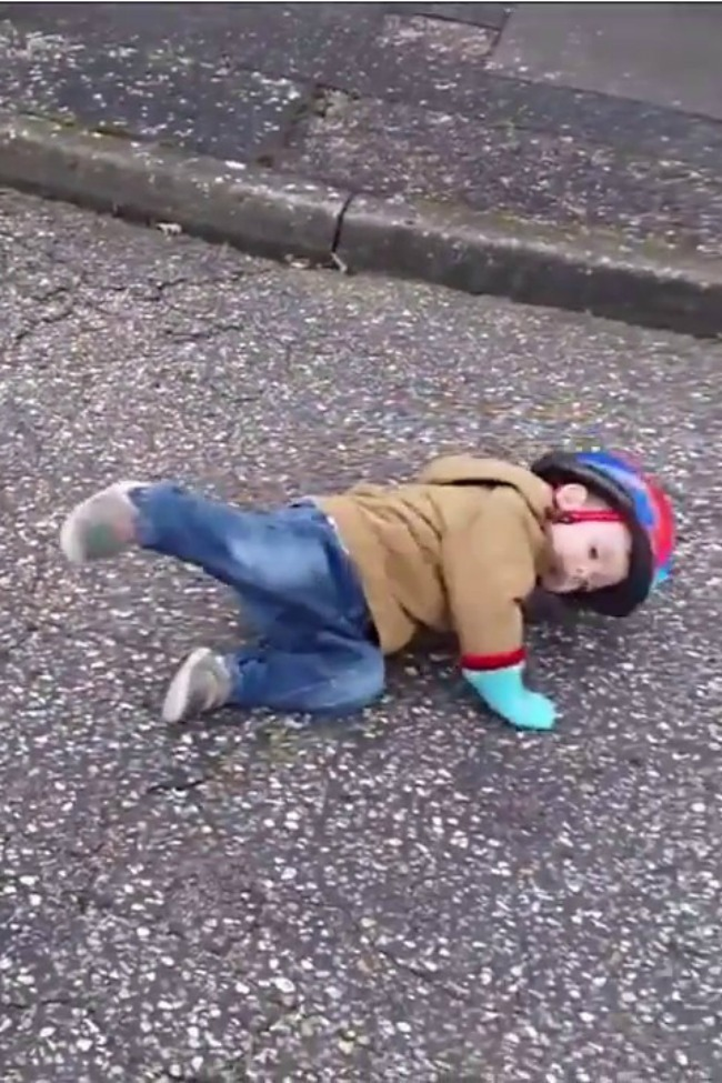 Kid Has Shocking Bicycle Accident