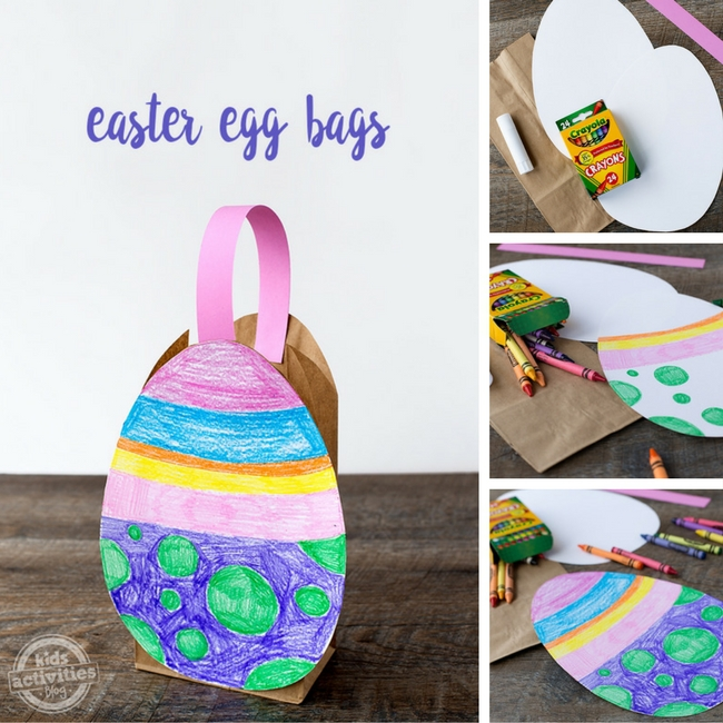 All the steps for making an Easter egg bag - supplies needed, decorating paper egg, adding the brown lunch sack and handle