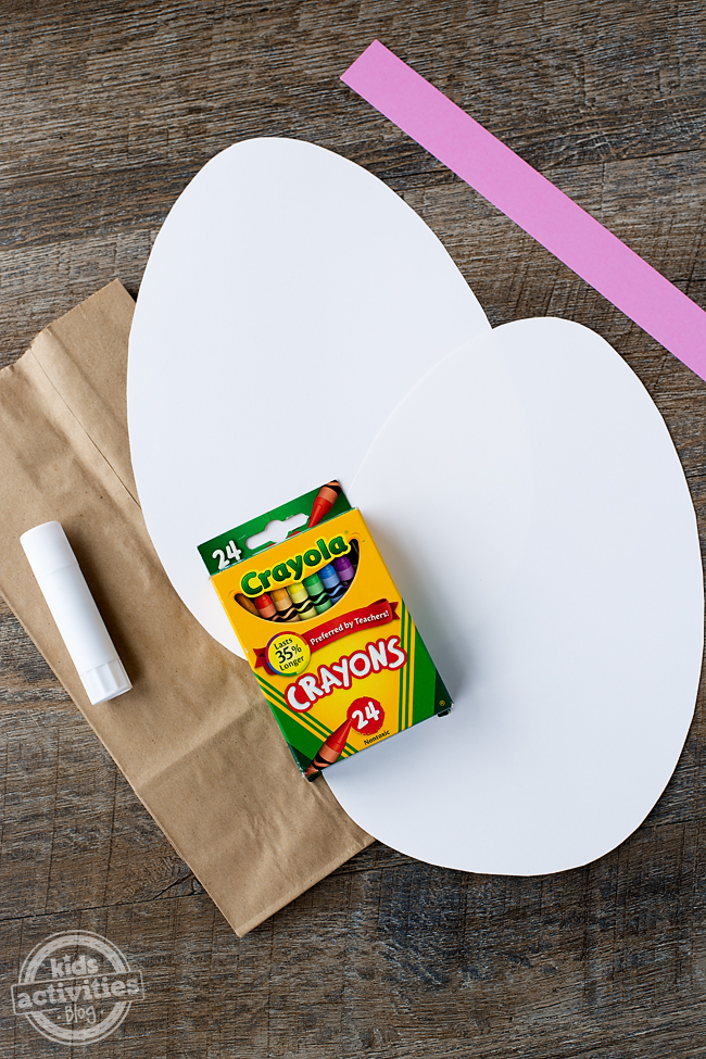Easter Egg Bags craft supplies needed - brown lunch sack, glue, crayons, construction paper