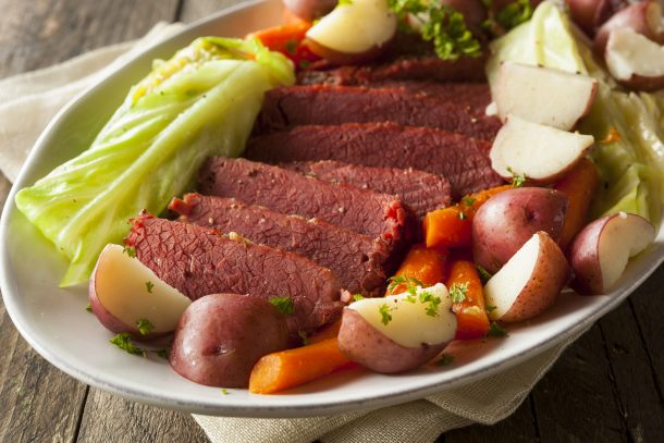 Corned beef and cabbage with potatoes! Yum!