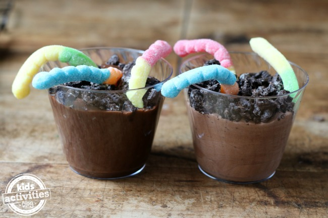 Earth day desserts-dirt pudding and worms, it is chocolate pudding with Oreos crumbled on top with sour worms.