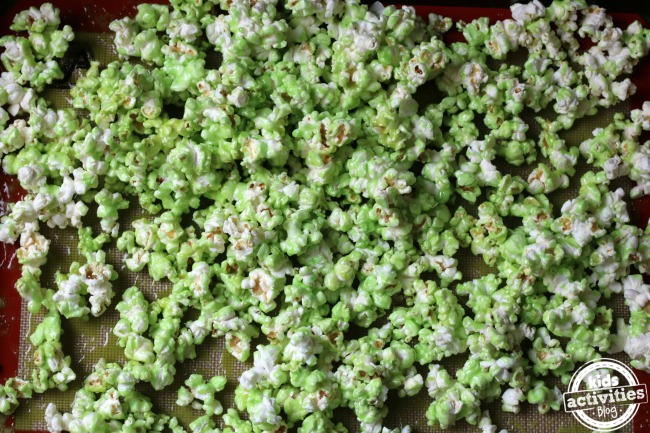 Earth day snacks like this lemon lime, green, popcorn is a great way to celebrate Earth day.