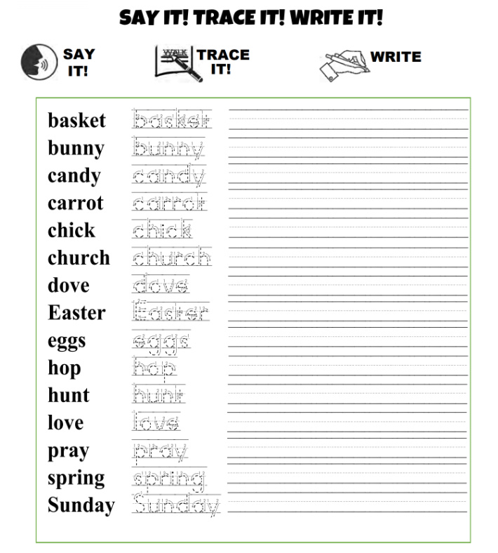 Free Easter Say It Trace It Write It Worksheets for Kids - Kids Activities Blog