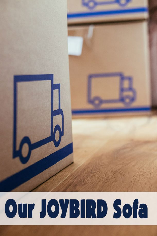 Moving boxes - with blue moving trucks on them - are sitting on the wood floor in a home.