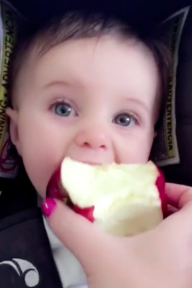 Big-Eyed Baby Tries Apple For The First Time