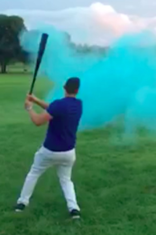 Epic Moment When Dad Hits Ball To Reveal Gender Of New Baby!