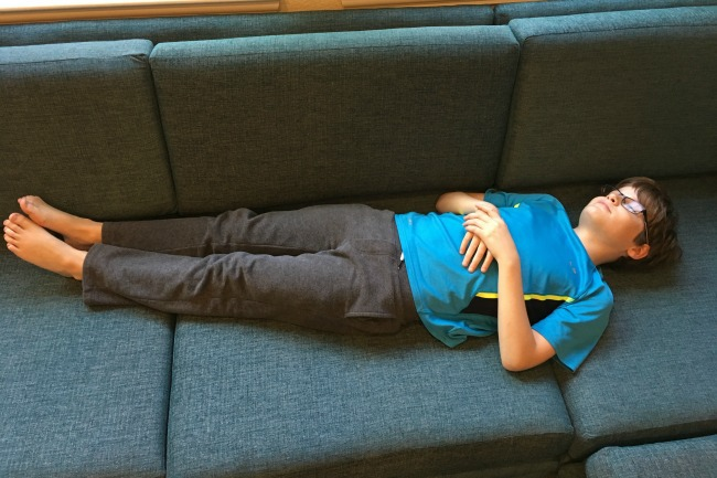 sleeping on Joybird sofa