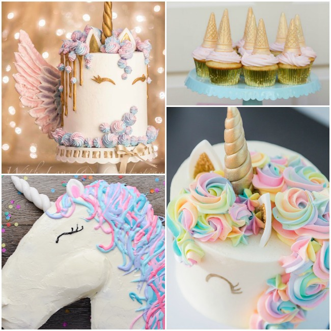 Unicorn cakes- there is a gold and white unicorn drip cake with a gold horn and meringue wings, pink and gold unicorn cupcakes with ice cream cone horns, a white unicorn with wavy pink, blue and purple icing hair, and a white and gold unicorn cake with rainbow flower hair.