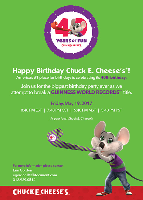 Chuck E. Cheese's goes for the Guinness World Records title