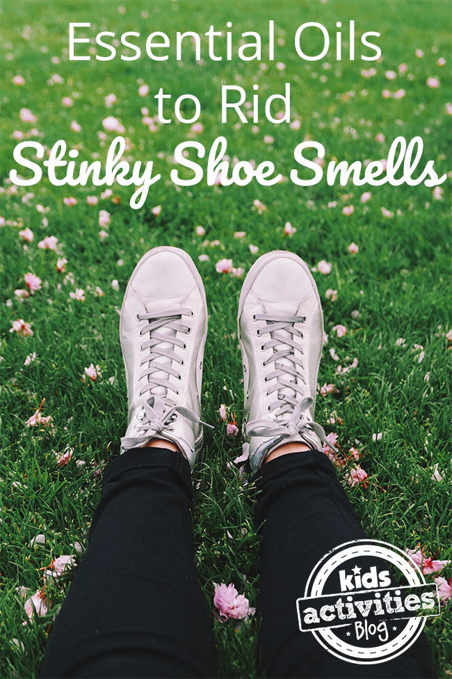 Essential Oils to Rid Stinky Shoe Smells - feet in shoes on lawn with flowers