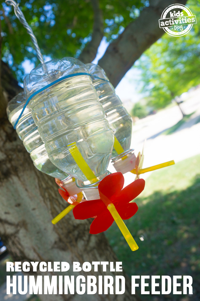 Recycled Bottle Hummingbird Feeder made from plastic water bottles and straws