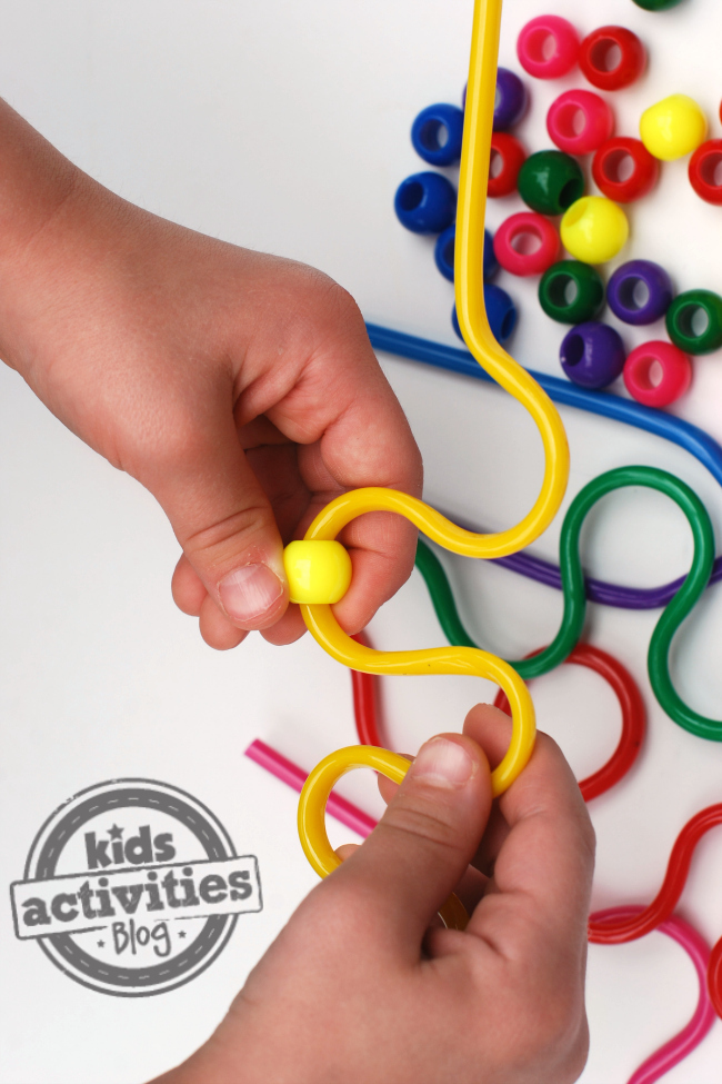 Colorful Silly Straw & Bead Threading Activity for Preschoolers
