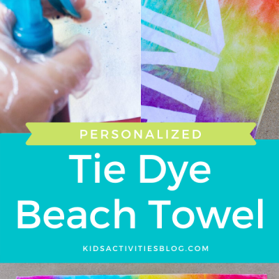 personalized tie dye beach towel for kids