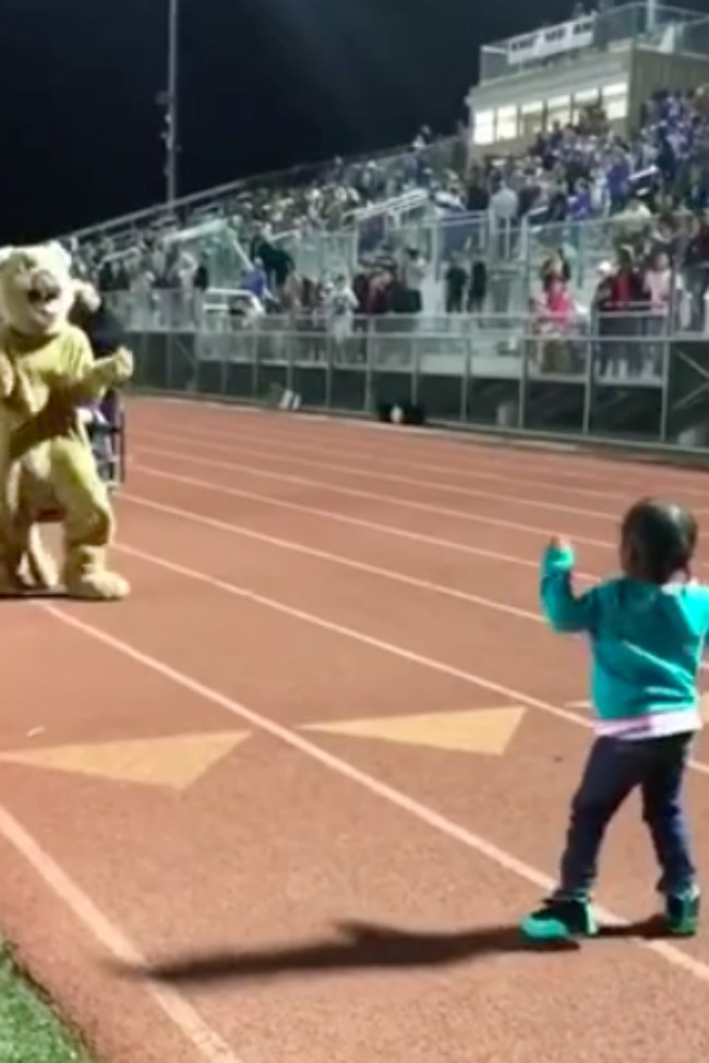 Crowd Loses It When Toddler And Mascot Have Epic Dance-Off