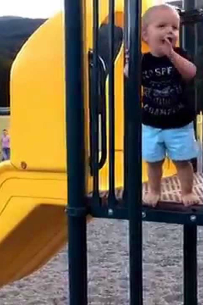 Toddler Tries To Follow Big Brother Down Fire Pole…It Doesn't Go As Planned