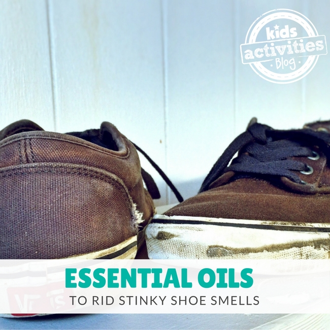 Essential Oils to Rid Stinky Shoe Smells - two worn shoes on the floor at home