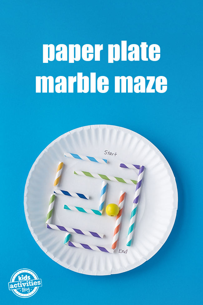 On a paper plate is a marble maze made out of cut up straws. It is easy to make and fun to play!