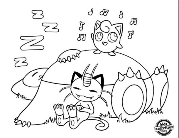 Pokemon Coloring Page - Jigglypuff Snorlax and Meowth