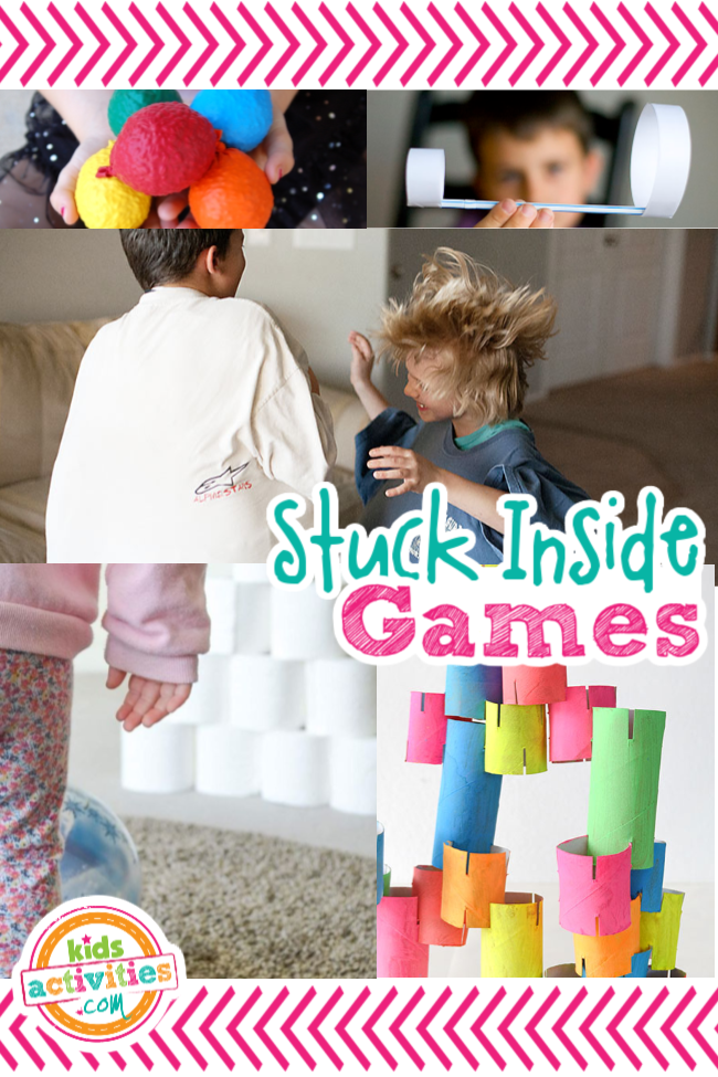 Stuck inside games - over 30 game ideas for kids for active indoor party games and rainy day games - shown are homemade balls, DIY airplane, belly bounce game, toilet paper bowling and toilet paper roll building games