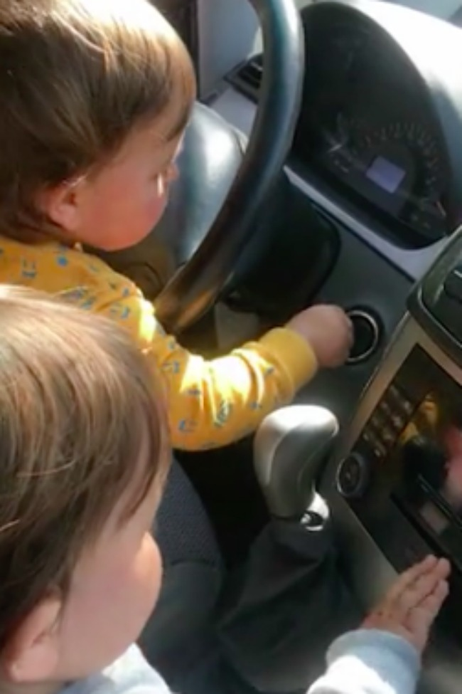 Twin Toddlers Caught In The Act Trying To Steal A Car