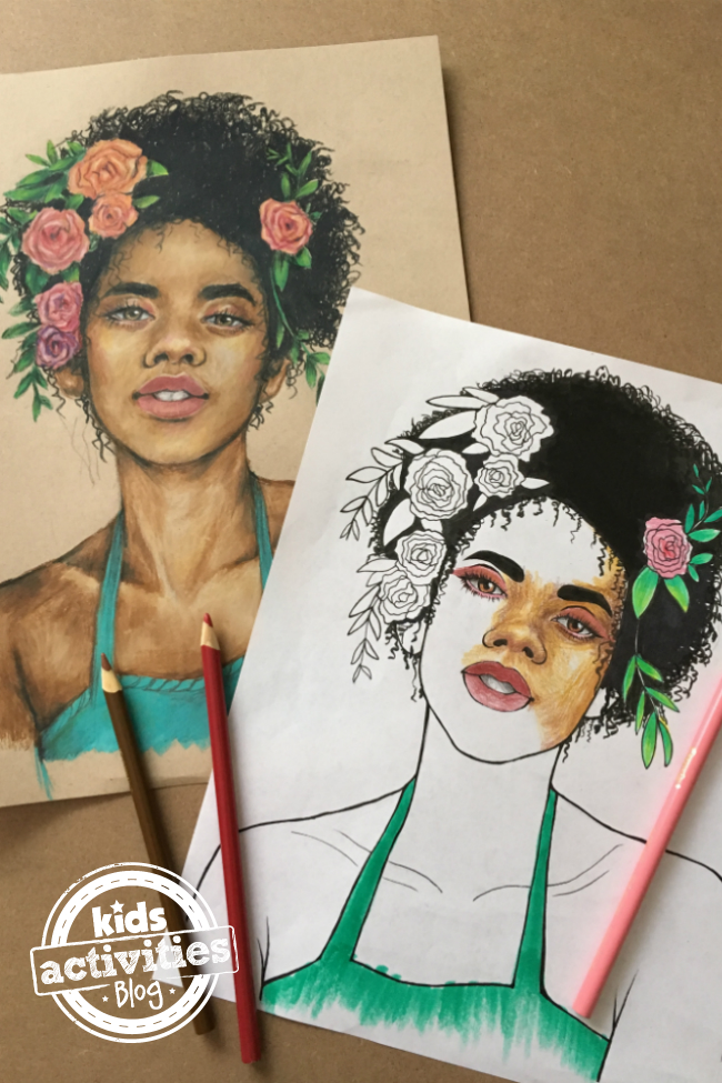 Free Printable Floral Portrait Coloring Page for Kids and Adults