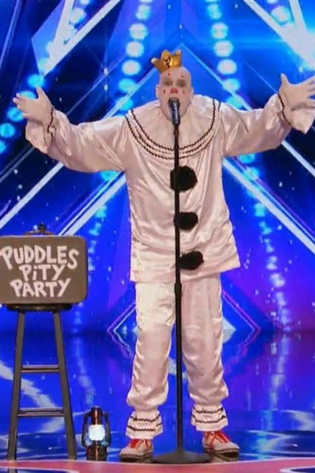 sad clown named Puddles Pity Party sings Chandelier on America's Got Talent