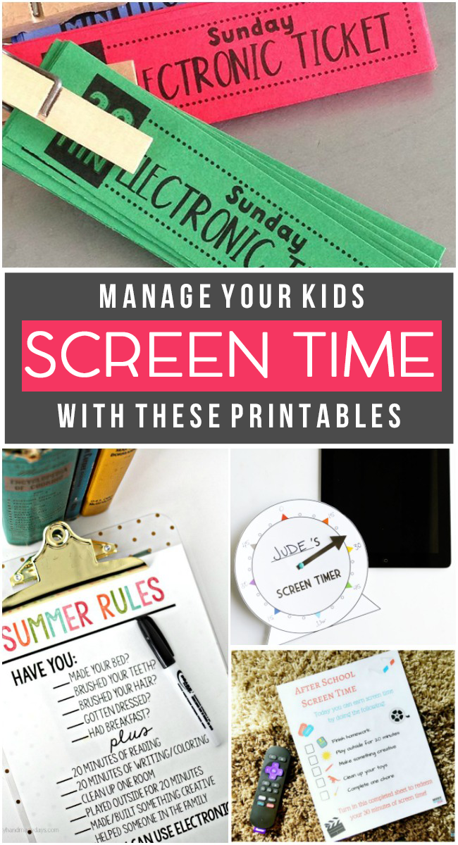 Manage your kids screen time with these printables along with handing them electronic tickets, summer rules sheet, and timer.