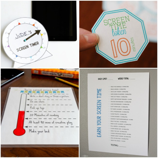 Monitor Your Kids Screen Time with These Printables like the screen time token that is a hexagon, earning screen time with chores printable sheet, and a screen time timer.