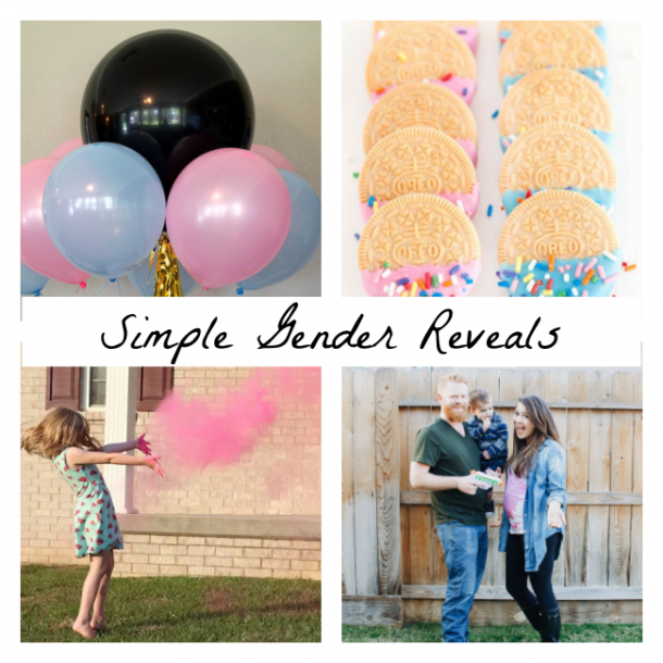 simple gender reveals using balloons, vanilla oreos, gender reveal powder, and pink paint and a squirt gun.