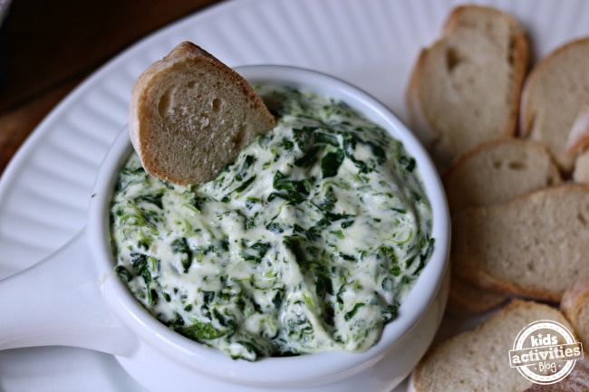 Spinach dip inspired by shark week served with toast