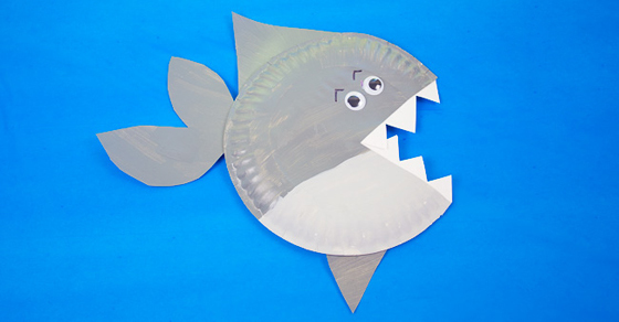 Paper plate shark craft for kids of all ages