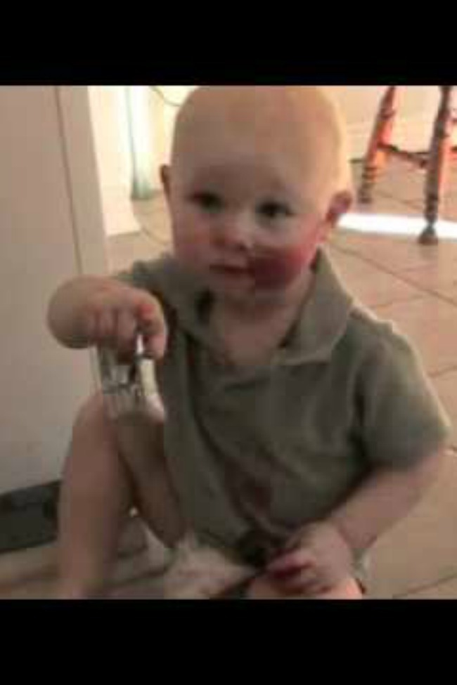Little Boy Gets Into His Mom's Makeup