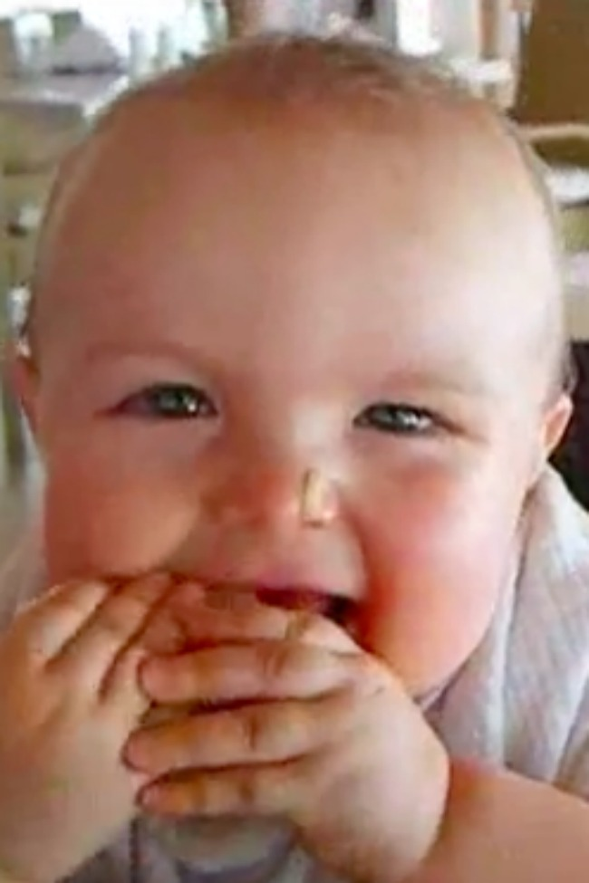 Cute Baby Can Not Keep Eyes Open While Eating Melon