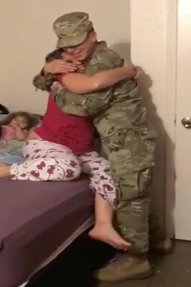 Soldier Surprises Family After Six Month Away, By Sneaking In While They Sleep!