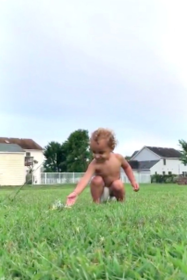 Baby Falls For Sprinkler Trick Over And Over Again