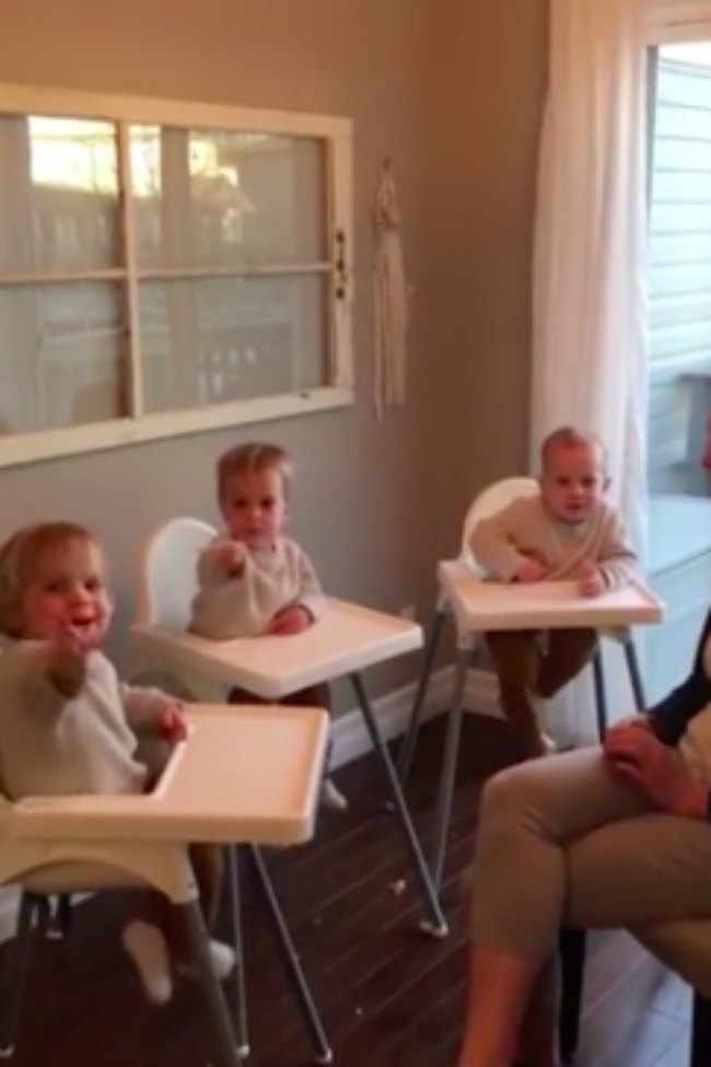 Adorable Triplets Get Spanish Lesson, And A Few Grapes!