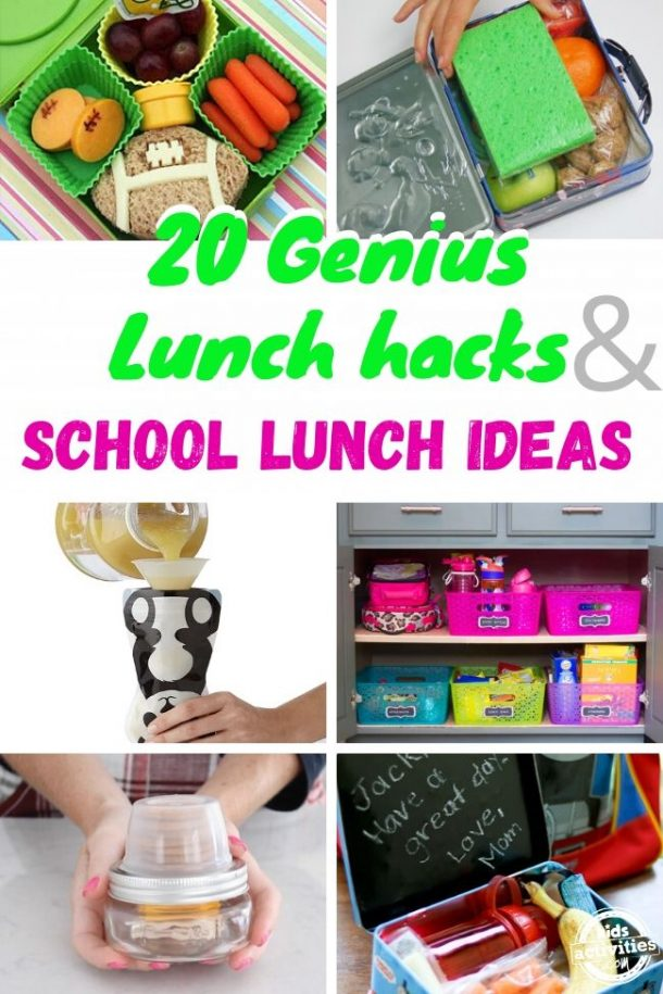 Collage of 20 lunch hacks and school lunch ideas