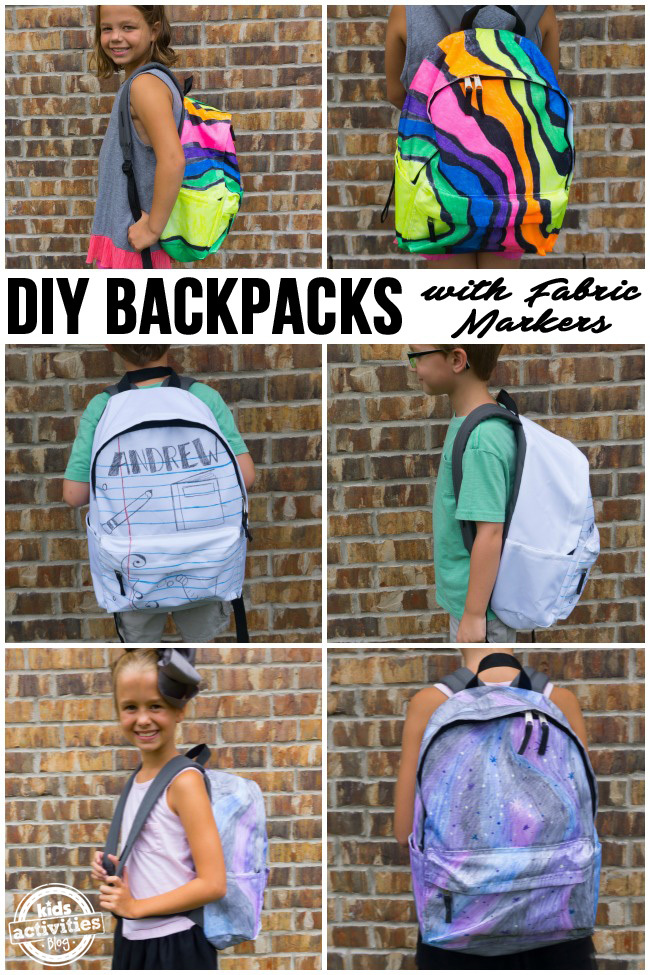 DIY Backpacks with Fabric Markers