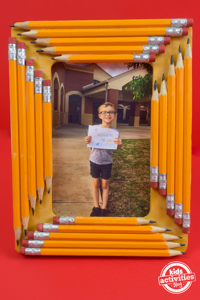 school photo frame made with pencils