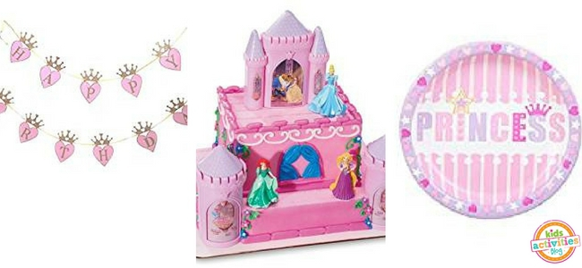 Princess Party Ideas - Banner, Cake Decorations, Plate