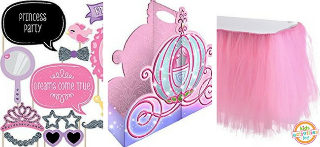 Princess Party Ideas - Photo Booth Props and Table Decor